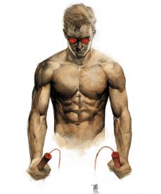 """DAREDEVIL Debut:1964 Poderes: Sentidos sobrehumanos """"El Sexo Vende, tal vez sea por eso que los ejecutivos no le han dado a Wolverine una barriga chelera"""" --Alex Maleev"""