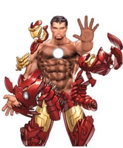 """IRON MAN Debut: 1963 Poderes: Armadura """"Dibujar Superheroes? Bueno, Tienen que ser perfectos. Son como Dioses modernos"""" --Mike Deodatto (artista)"""